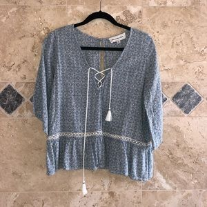 Abercrombie and Fitch Printed Flowy Peasant Top